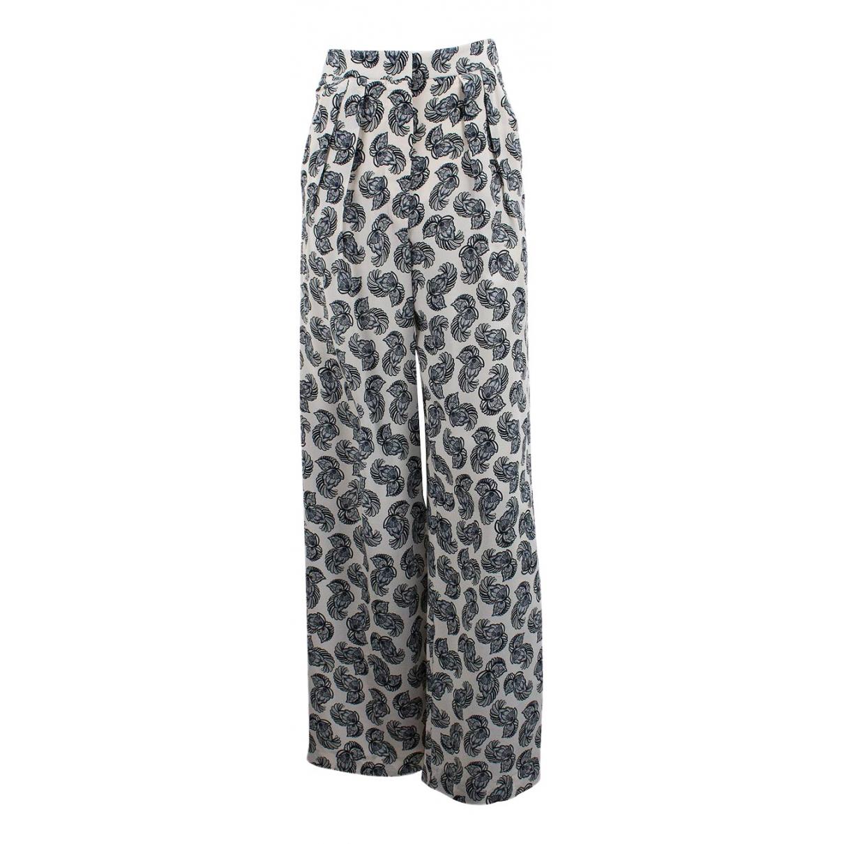 Stella Mccartney \N White Silk Trousers for Women 34 FR