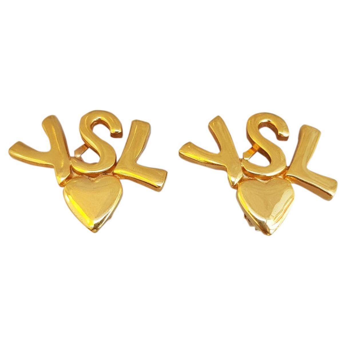 Yves Saint Laurent - Boucles doreilles   pour femme en plaque or - dore