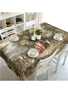 Ancient Immortal Supernatural Being Playing in the Forest 3D Tablecloth