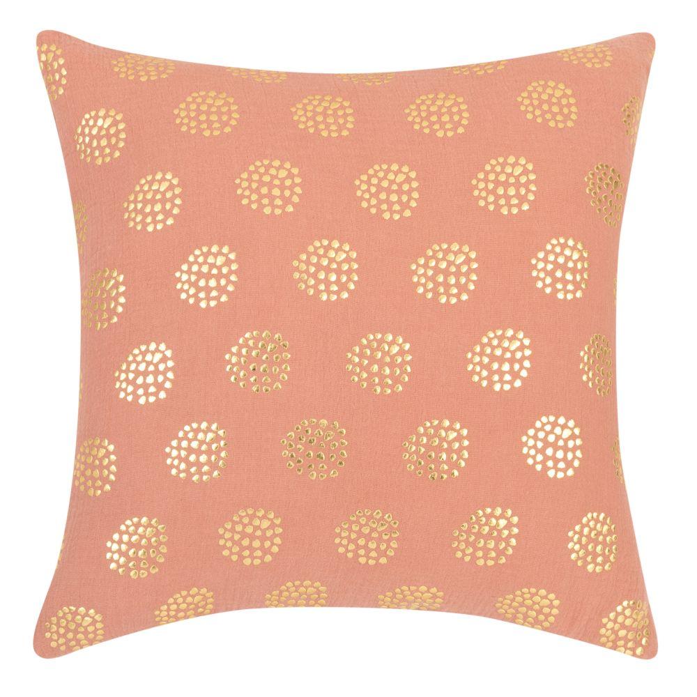Kissenbezug aus Baumwollgaze, rosa mit goldenen Punkten 40x40