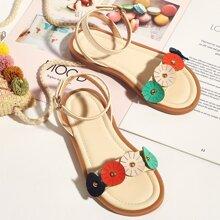 Toddler Girls Flower Decor Ankle Strap Sandals