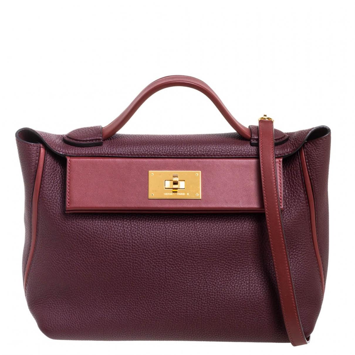 Hermes 24/24 Handtasche in  Bordeauxrot Leder
