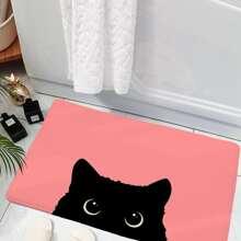 1 pieza alfombra de puerta con estampado de gato de dibujos animados