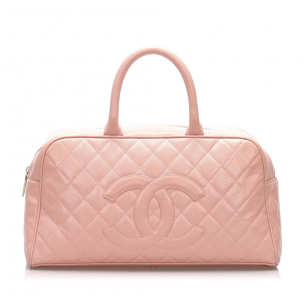 Chanel - Sac de voyage   pour femme en cuir - rose
