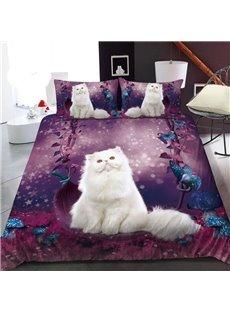White Ragdoll In The Purple Garden 3D Printed Polyester 1-Piece Warm Quilt