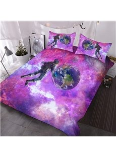 The Earth in Cosmic Galaxy 3D Comforter 3-Piece Polyester Comforter Sets with 2 Pillowcases