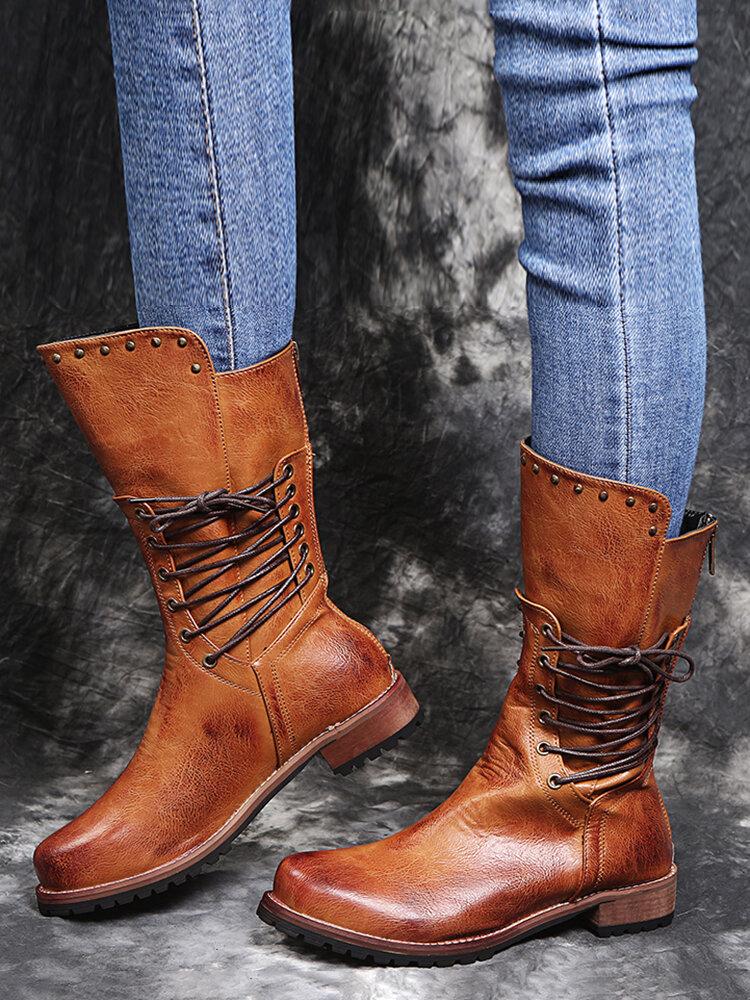 Women Round Toe Comfy Soft Lace Up Back Zipper Casual Retro Mid-Calf Boots