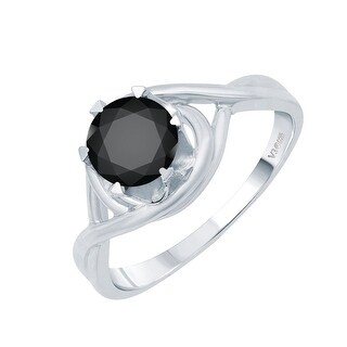 Sterling Silver with Genuine Black Diamond Solitaire Ring (5)