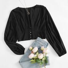 Bluse mit V-Kragen, Bischofaermeln und Knopfen vorn