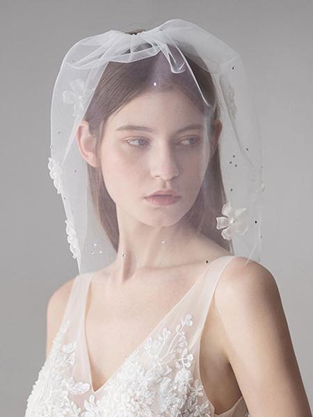 Milanoo Blusher Veil Wedding Tulle Ivory Pearls Flower Bridal Short Veil