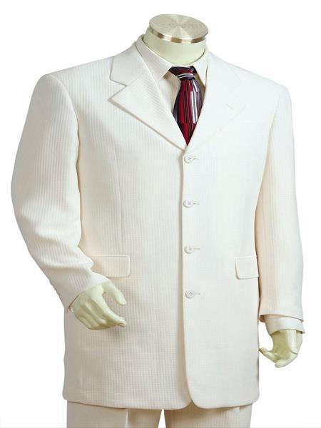 Mens Designer Wool 3pc Zoot Suit White