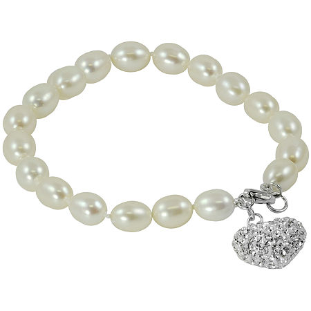 Cultured Freshwater Pearl & Crystal Heart Bracelet, One Size , No Color Family