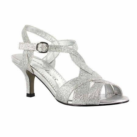 Easy Street Womens Glamorous Pumps Spike Heel, 8 Medium, Silver