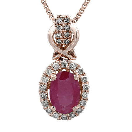 1/7 CT. T.W. Diamond and Lead Glass-Filled Ruby 10K Rose Gold Drop Pendant Necklace, One Size , No Color Family