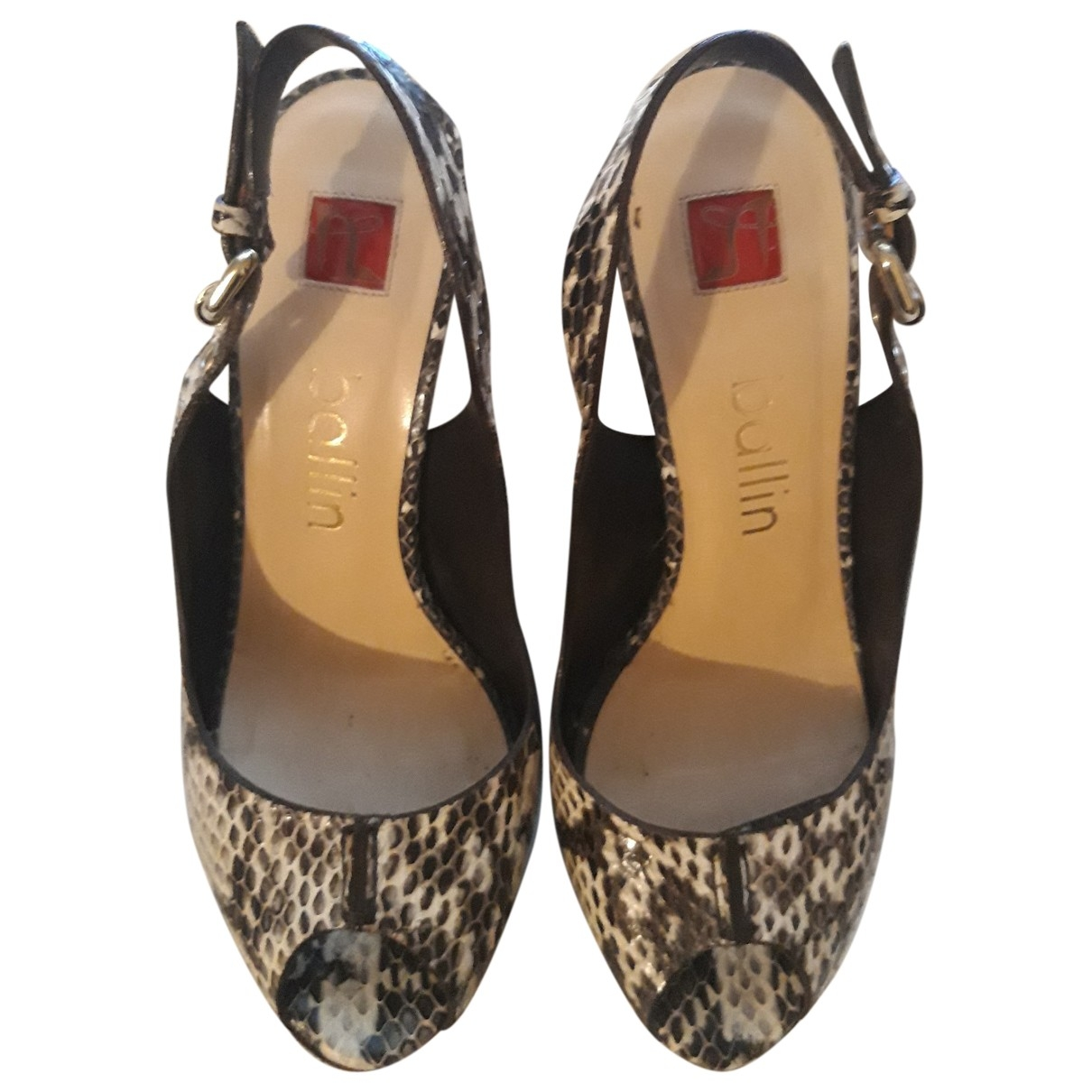 Non Signé / Unsigned \N Brown Python Sandals for Women 35.5 EU