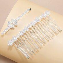 Rhinestone & Faux Pearl Decor Hair Comb & Hair Clip
