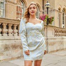 Jacquard Kleid mit Herzen Kragen und Blumen Muster