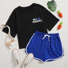 Maedchen Top mit Buchstaben Grafik & Delphin Shorts