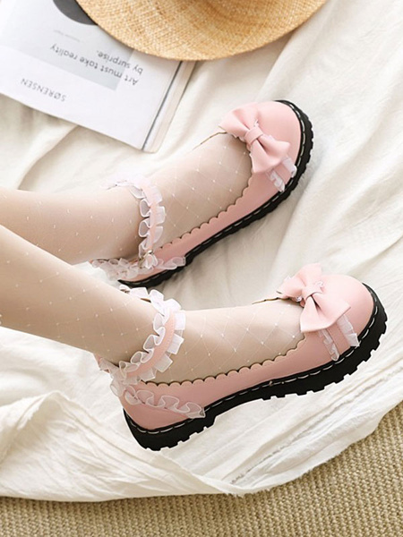 Milanoo Sweet Lolita Shoes Bows Ruched PU Leather Flat Lolita Pumps