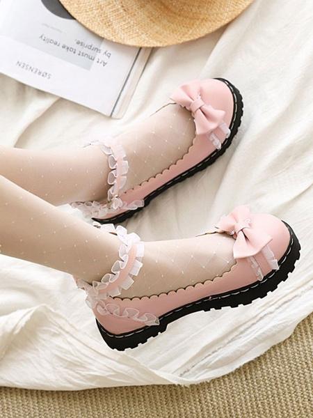 Milanoo Zapatos de Lolita dulces Arcos Zapatos de tacon de Lolita planos de cuero PU con pliegues