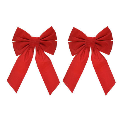 Christmas Red Velvet Bow with 4 Loops, 12