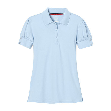 French Toast Little Girls Short Sleeve Polo Shirt, 4-5 , Blue