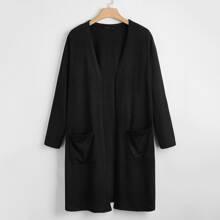 Einfarbiger Mantel mit offener Vorderseite und Taschen Flicken