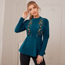 Mock-neck Floral Embroidered Gigot Sleeve Peplum Top