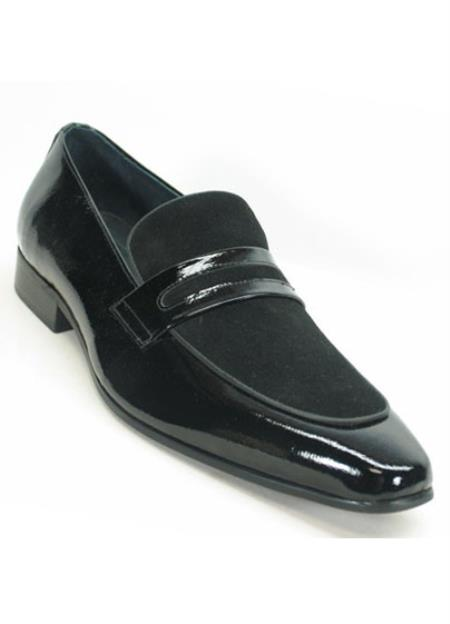 Mens Genuine Patent Leather Black Slip On Style Loafers Shoes