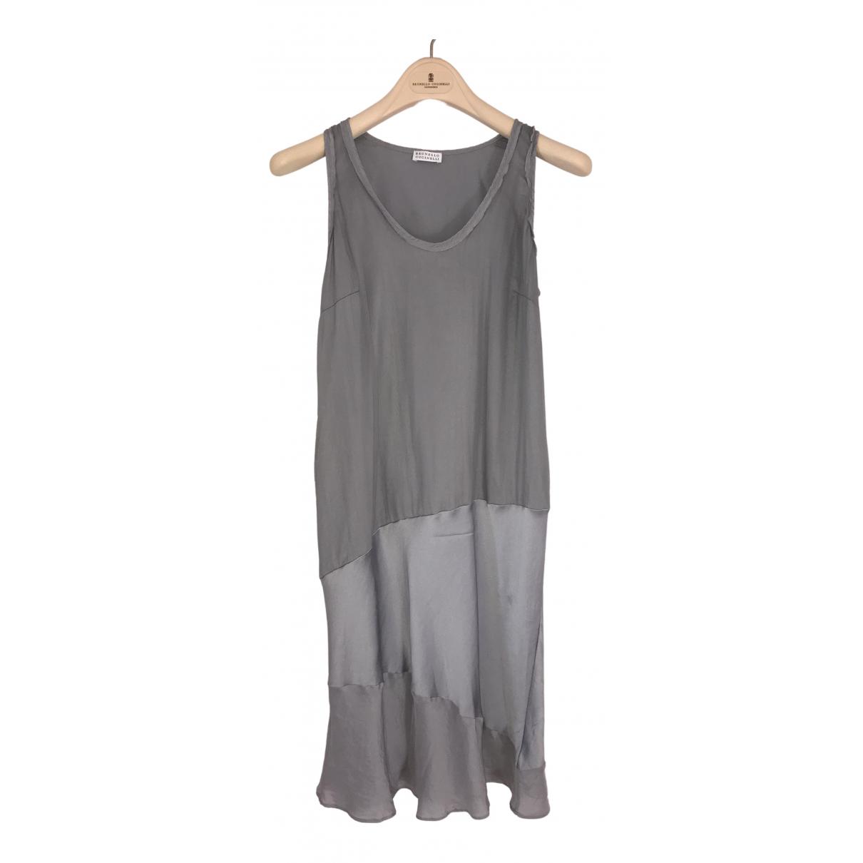 Brunello Cucinelli \N Grey Silk dress for Women L International