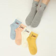 5 Paare Socken mit Karikatur Grafik