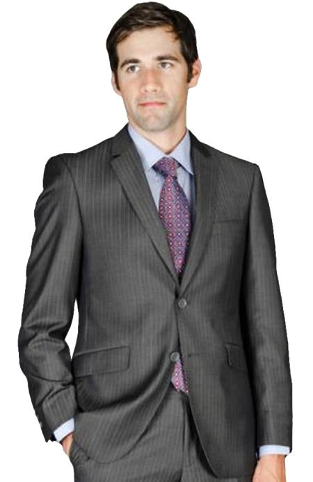 Mens Slim Fit Charcoal Stripe Wool and Silk Blend Suit