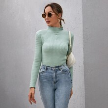 Mock-neck Beaded Detail Cable Knit Sweater
