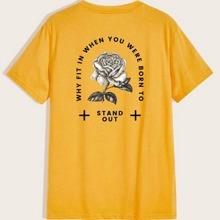 T-Shirt mit Blumen und Buchstaben Grafik