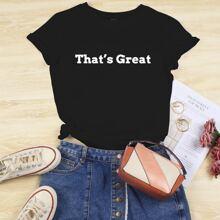 T-Shirt mit Buchstaben Grafik und rundem Kragen