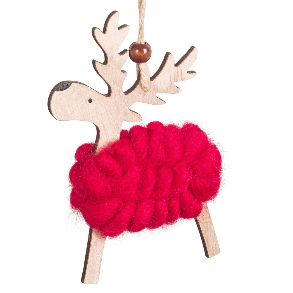 Weihnachtliche Haengedeko Hirsch aus roter Wolle