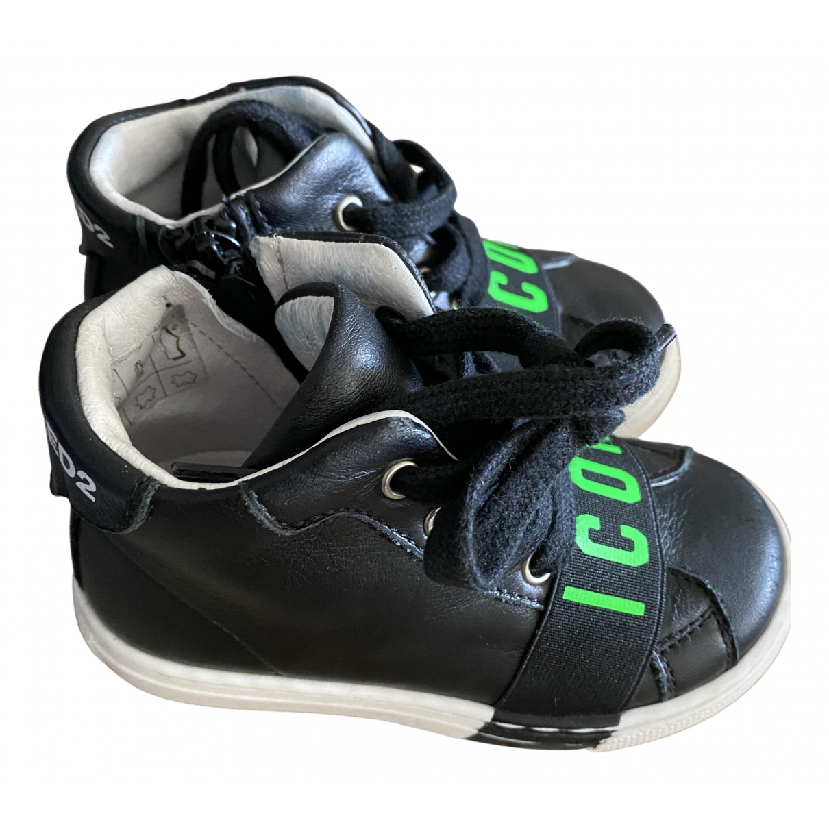 Dsquared2 N Black Leather First shoes for Kids 22 FR