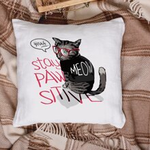 Cat Print Cushion Cover Without Filler