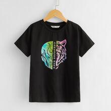 T-Shirt mit Buchstaben & Grafik Muster