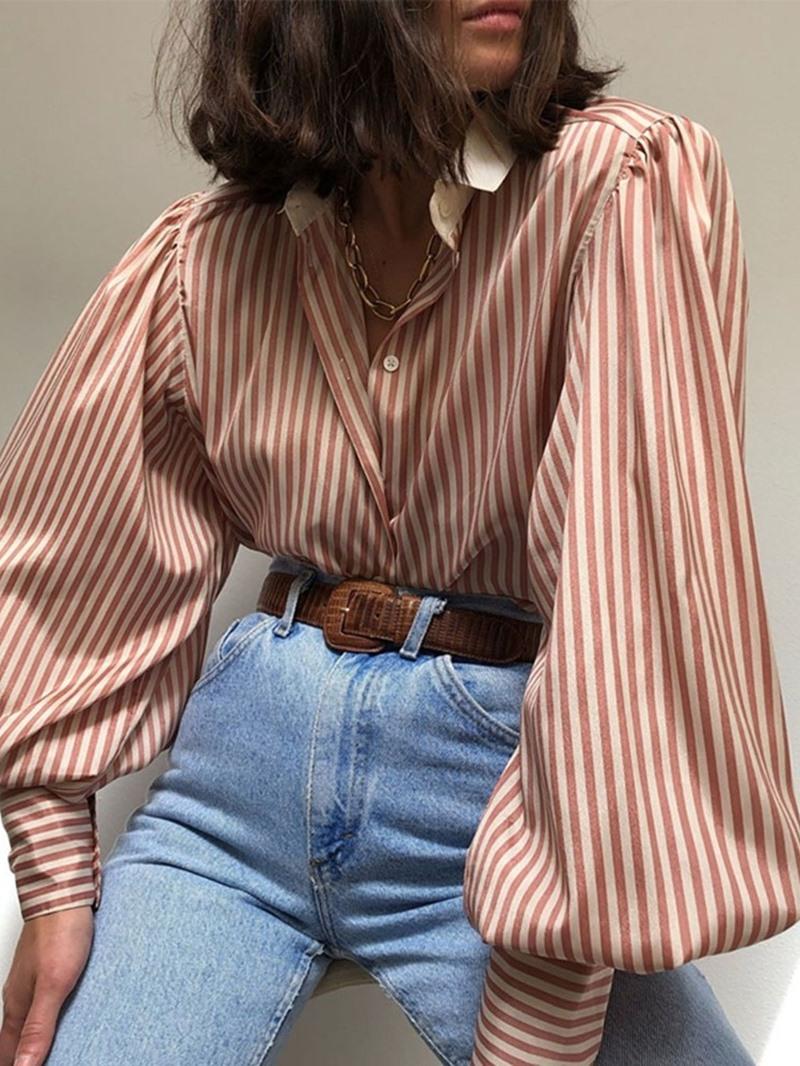 Ericdress Womens Long Sleeve Standard Stripe Blouse