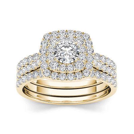 1 1/2 CT. T.W. Diamond 10K Yellow Gold Bridal Ring Set, 7 , No Color Family