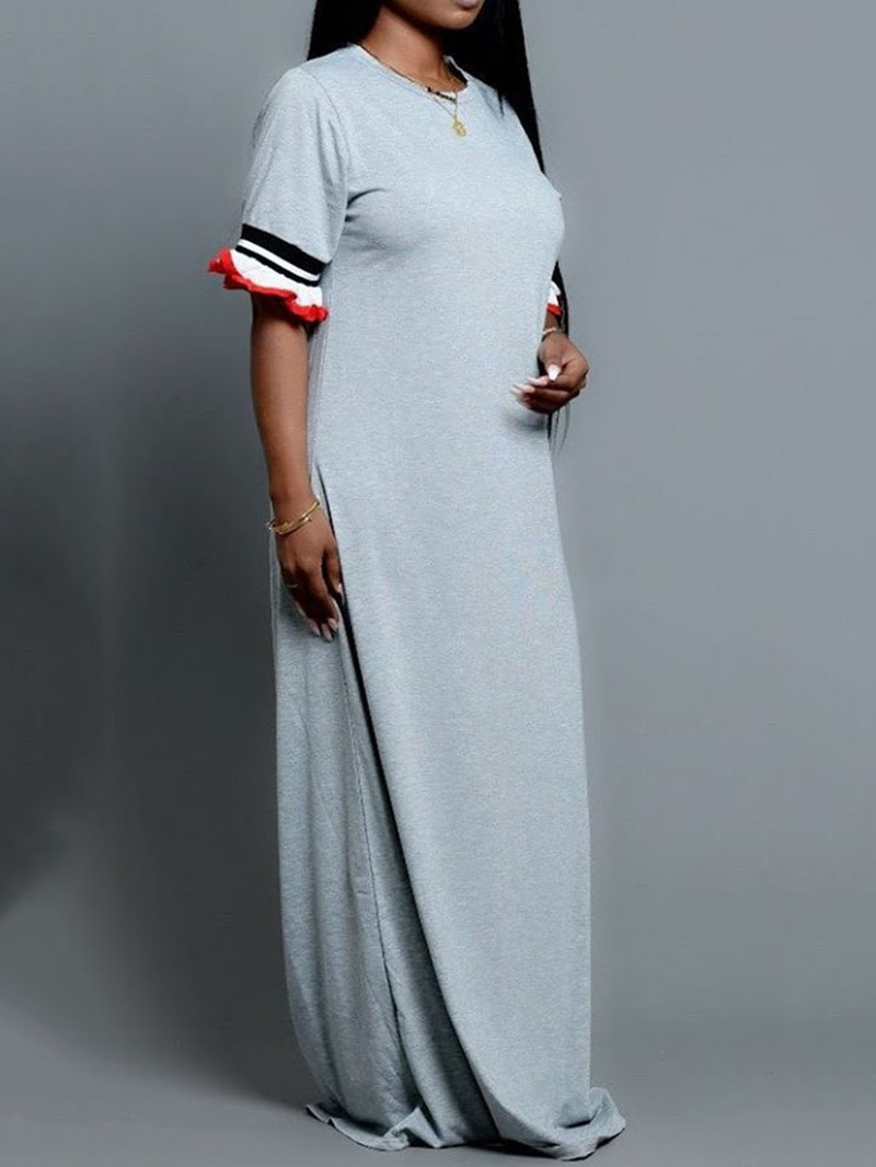 Ericdress Floor-Length Round Neck Half Sleeve Casual Straight Dress