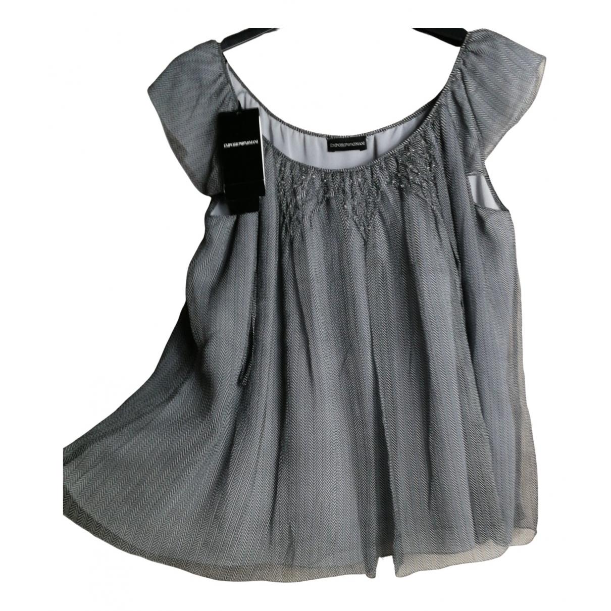 Emporio Armani N Grey Silk  top for Women 42 IT