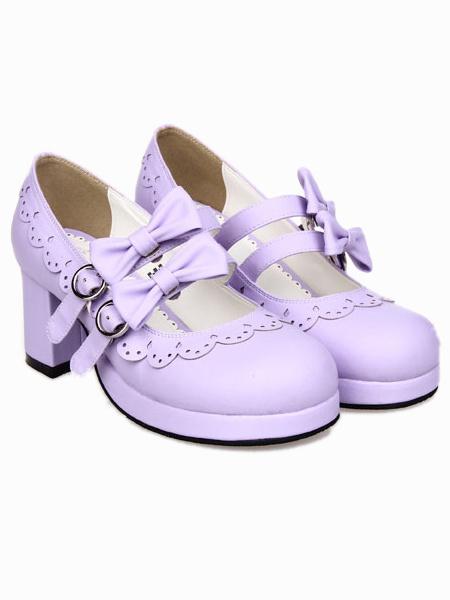 Milanoo Lovely Street Wear Lilac PU Leather Platform Lolita Shoes