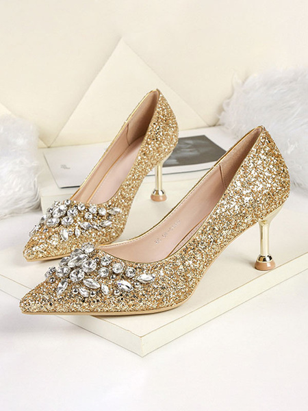 Milanoo High Heel Party Shoes Sequined Pointed Toe Rhinestones Evening Shoes
