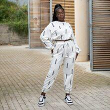 Crop Pullover mit Buchstaben Grafik & Jogginghose Set mit Kordelzug auf Taille