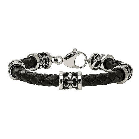 Mens Stainless Steel & Leather Fleur De Lis Dragon Bracelet, One Size , No Color Family