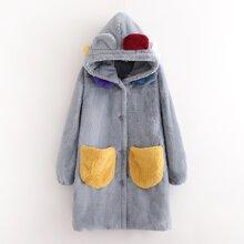 Mantel mit doppelten Taschen, 3D Ohr Design, Kapuze und Kunstpelz