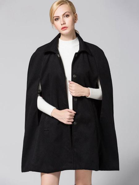Milanoo Black Cape Coat Turndown Collar Long Sleeve Split Women's Casual Ponchos
