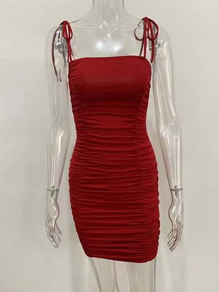 Milanoo Bodycon Dresses Oragnge Red Straps Neck Pleated Backless Casual Sleeveless Pencil Dress